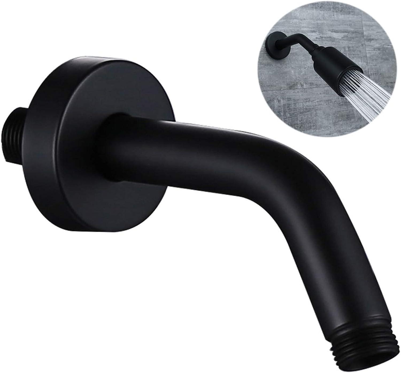 HANTING All Brass 6 inch Shower Arm with Flange,Matte Black, Also Brushed Nickle or Brushed gold for Choose
