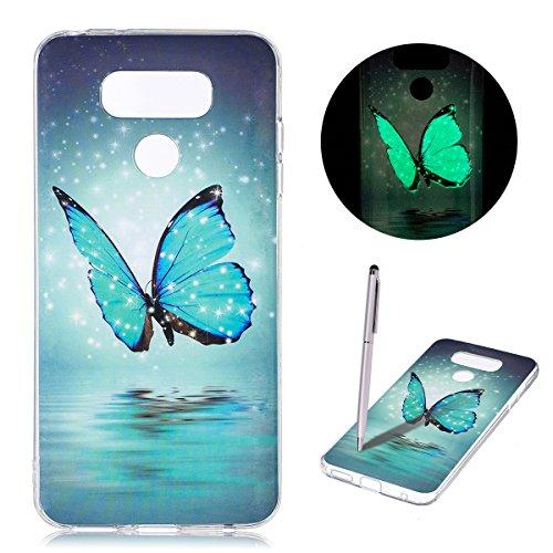CaseLover Cover LG G6, Nottilucenti Luminoso TPU Silicone Custodia per LG G6 Ultra Sottile Fluorescente Flessibile Gel Protettiva Copertura Morbida Case AntiGraffio (5.7 Pollici) - Farfalla