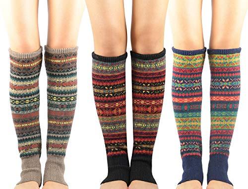 Zando Women Girls Bohemian Long Leg Warmer Winter Fashion Knitted Warm Boot Thigh High Socks A Black & Khaki & Navy One Size