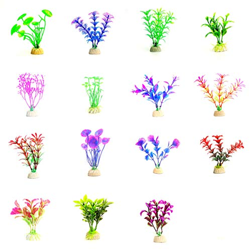 BSTHP Aquarium Plant, 15Packs Kunststof Planten voor Waterman Decoraties