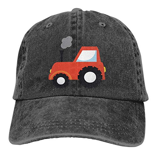Strawberryran Tractor Agriculture Farm Hombres 's/Women' s Ajustable Denim Fabric Gorra de béisbol Hiphop Cap