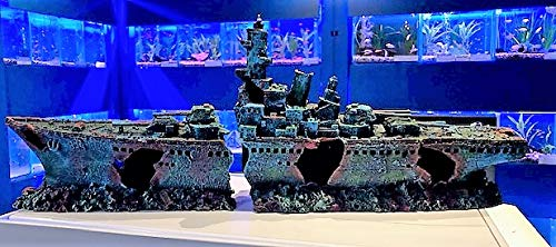 Mezzaluna Gifts 73cm 2 Piece Shipwreck Frigate Big Aquarium Ornament Ship for Large Fish Tanks