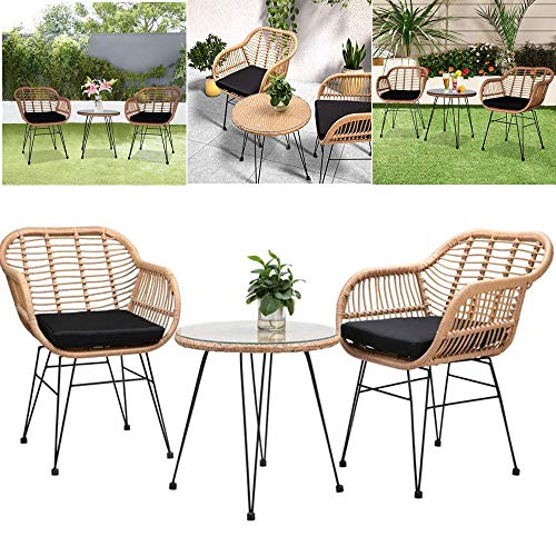 U-Kiss Rattan Bistro Set - 3 Pieces Patio Balcony Bistro Set, Patio Furniture Lounge Outdoor Table Chairs Garden Furniture Wicker Cushion Glass Plate