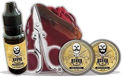 Complete Beard Care Kit in a Bag - Beard Oil, Taming Balm, Mustache Wax, Pocket Beard Comb, Mini Scissors in Drawstring Bag 100% Organic Jojoba Oil, Shea Butter, & Hemp Oil