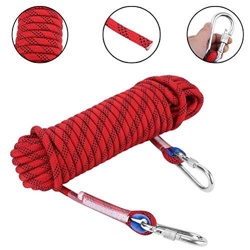 Corde d'escalade Extérieur d'urgence Corde 12mm Diamètre Randonnée Corde d'urgence avec Mousqueton De Sécurité Corde Lifeline Randonnée Équipement De Survie (30 M) (Color : Red, Size : 20m/64ft)