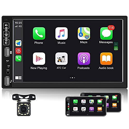 2 DIN Estéreo de automóvil D-Play CAMECHO 7'' HD Pantalla táctil Radio de Coche con Enlace Espejo Bluetooth FM Radio, Soporte USB/AUX/Subwoofer +Micrófono Externo+Trasero Vista Cámara