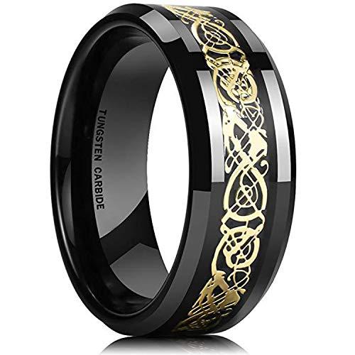 BAVAHA King Will Dragon 8mm Mens Celtic Dragon Tungsten Carbide Wedding Band Ring Black/Gold/Rose Gold/Blue/Opal/Green(10,Black&Gold)