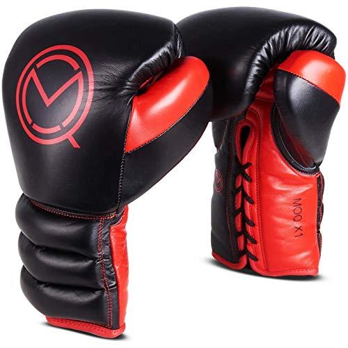 MOQ X1 Boxhandschuhe zum Schnüren, Schwarz/Rot, 454 g