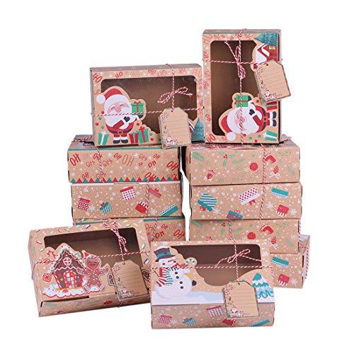 Urijk 12 Weihnachten Geschenkbox mit Sichtfenster Keksverpackungen Weihnachten mit DIY Karten Weihnachten Deko Kekse Verpackung