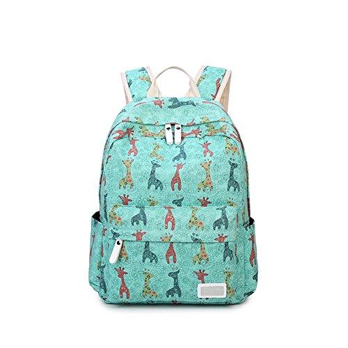 Qearly Casual Toile l'école Sac à dos voyage camping randonnée Sac à dos Nuit Week-end sac à dos sac à dos scolaire sacs-Vert d'herbe