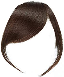Dsoar Thick Side Bangs Clip in Real Human Hair Bangs Natural Clip on Side Bangs Straight Fringe Hair Extensions(Dark Brown Color,With Temples)