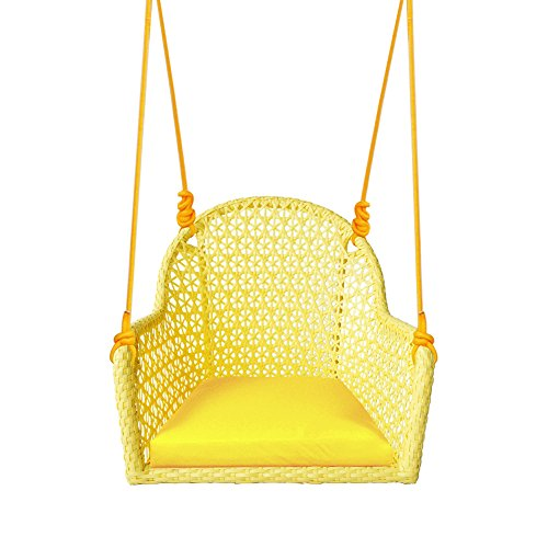 ART TO REAL Pack of 2 Wicker Porch Swing Chair for Children or Adult, Hanging Rope Chair Swing Seat, Indoor and Outdoor Playground Swing Set Accessories, UV Resistant (Yellow)
