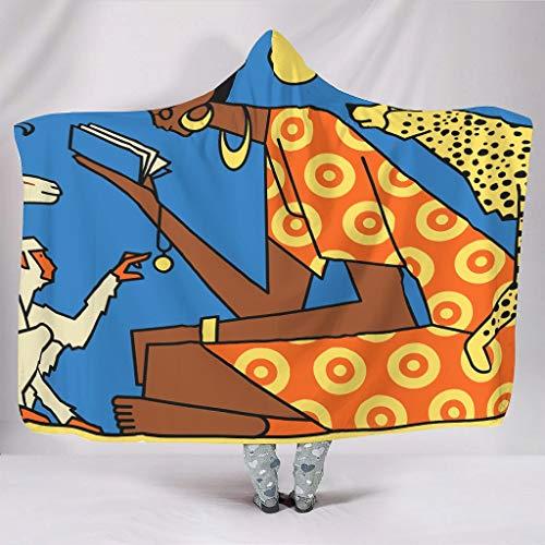 Muurlovers knuffelig met capuchon deken grappig Afrikaans meisje maker met dierenprint warme winter pluche sherpa jaargang capuchon gordijn lezen bank beddengoed