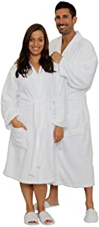 JMR 100% Cotton Terry White Men & Women Bathrobe, Kimono,Collar, Tie-Belt, Economical Spa/Hotel Robe