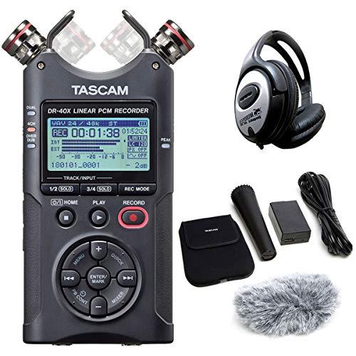 Tascam DR-40X - Grabadora de audio estéreo (incluye accesorios AK-DR11GMK2 y auriculares Keepdrum)