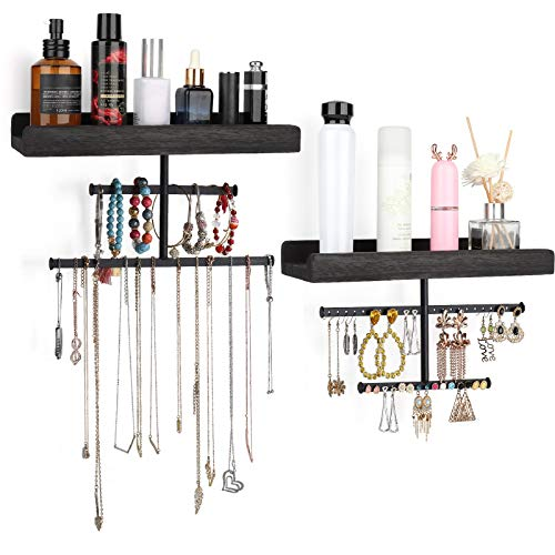 Keebofly Hanging Wall Mounted Jewelry Organizer with Rustic Wood Jewelry Holder Display for Necklaces Bracelet Earrings Ring Set of 2 Black