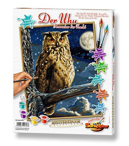 Schipper 609240703 - Malen nach Zahlen – Uhu, Herrscher der Nacht - Bilder malen für Erwachsene, inklusive Pinsel und Acrylfarben, 24 x 30 cm