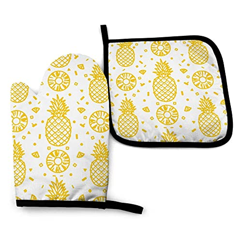 Oven Gloves Yellow Pineapple Fruits Seamless Pattern Oven Mitts and Pot Holders Set,Heat Resistant Gloves & Potholder for Cooking,Baking,Grilling,Serving,BBQ Or Dinner Party,Decorative Kitchen Gift