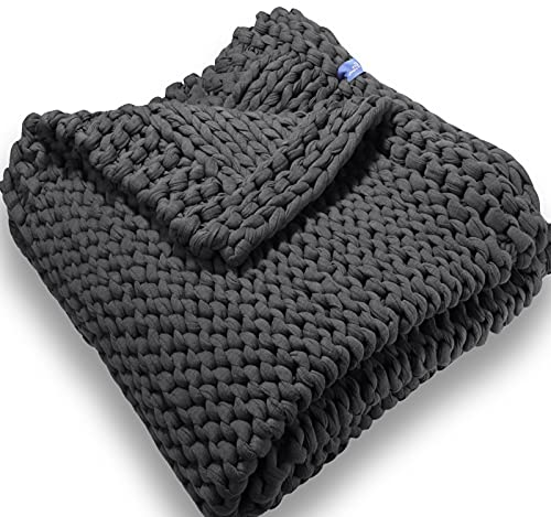 Handmade Chunky Knit Weighted Blanket 15 Pounds, 100% Cotton No Fillers, Breathable, Soft & Calming, All-Season Evenly Weighted Throw (Gray)