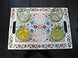 Bandeja para servir de mármol blanco de 10 x 14 pulgadas Pietra Dura Art Table Master Piece para restaurante y bar
