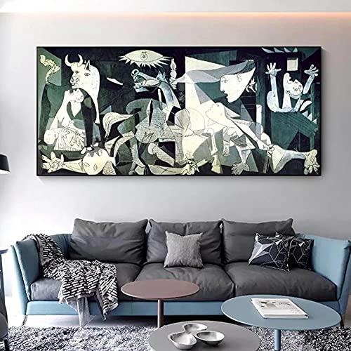 Impresión en lienzo Picasso Guernica Pinturas de arte famosas Impresiones de arte Reproducciones de obras de arte de Picasso Cuadros de pared Decoración del hogar 80x170cm Sin marco