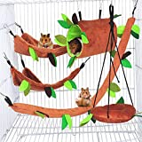 Hamiledyi Hamster Hammock Small Animals Hanging Warm Bed House Rat Cage Nest Accessories Toy Hanging Tunnel and Swing for Sugar Glider Squirrel Playing Sleeping, Pack of 5