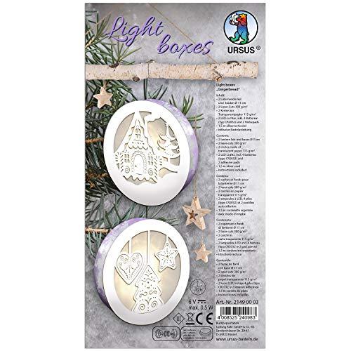 URSUS 21490003 Light Boxes ca. Ø 11 cm Gingerbread, 2 Laternendeckel und-böden, 2 Laser-Cuts, 2 Kreise aus Transparentpapier 115 g/m², 2 LED-Lichter, inklusive Zubehör und Bastelanleitung, weiß