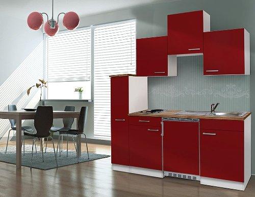 respekta KB180WR - Blocco cucina singola, 180 cm, colore: Bianco/Rosso