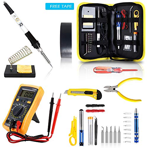 Magneto's Soldering Iron Kit, Updated Soldering Gun Kit Best for Electric, Jewellery & Welding Work – Digital Multimeter, Screwdiver, Soldering Iron Holder (28pcs Set) Best Gift