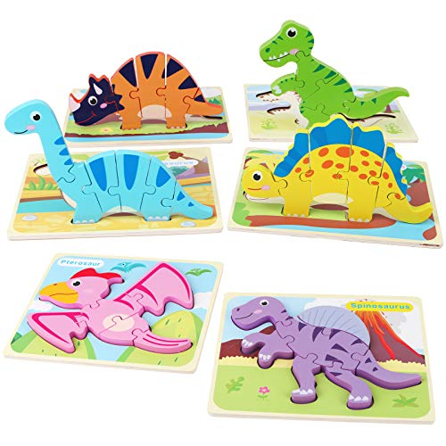 SYNARRY 6 Pack Dinosaur Wooden Puzzles for Kids 2-5, Jigsaw Puzzles for Toddlers 2 3 4 5 Years Old, 3D Dinosaur Puzzles Educational Preschool Learning Toys for Boys and Girls