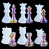 MCCKLE 6PCS Chess Resin Molds Set 3D International Chess Piece Silicone Molds for Resin Casting Epoxy Silicone Molds for DIY Crafts Chess Jewelry Making