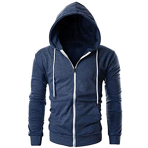 Mens Slim Fit Lange Mouw Lichtgewicht Zip-up Hoodie met Kanga Pocket Herfst Winter Sweatshirt Hoodies Hooded Top Blouse Trainingspakken onbezorgd L Donkerblauw