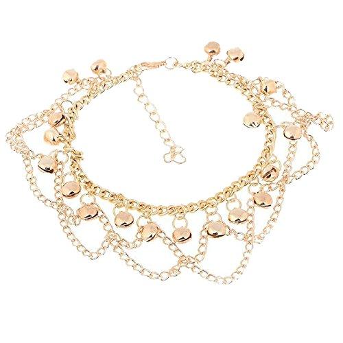 TOOGOO Sexy Women Golden Bells Tassels Chain Adjustable Anklet Bracelet Beach Foot Jewelry (Size: 25.5 cm,Gold)