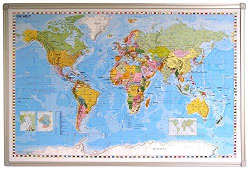 Weltkarte mit Alurahmen DEUTSCH Pinnwand aus Kork, ca. 59 cm (Höhe) x 89 cm (Länge) Worldmap