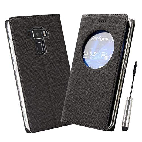Ycloud Geschäft PU Leder Tasche für Asus ZenFone 3 (5.5zoll) ZE552KL Wallet Flipcase mit Standfunktion Kartenfächer Entwurf Schwarz Leinen Stil Hülle
