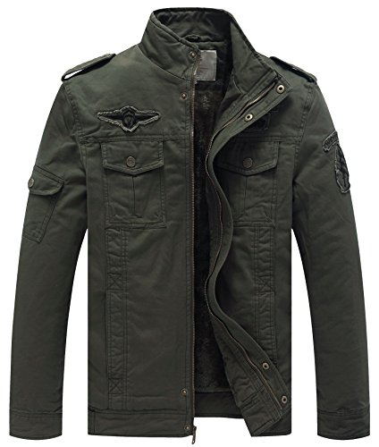 WenVen Men's Winter Military Style Air Force Jacket (Army Green,L)