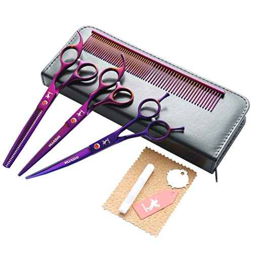 ZZBB 7' High-End Pet Barber Kit Dog Grooming Scissors Set Japanese Steel Barber Scissors Straight and Thinning and Curved Scissors for Dog and Cat Salon Cut