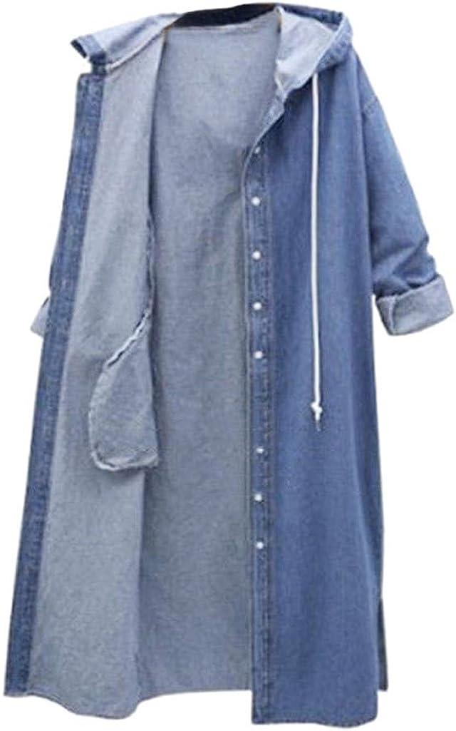 Women Blouse, Women Hooded Casual Long Sleeve Denim Jacket Long Jean Coat Outwear Overcoat