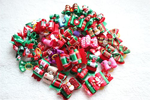 yagopet 50pcs/Pack Dog Hair Bows Rubber Bands Christmas Designs Dog Topknot Bows for Holidays Rhinestone Centre Pet Dog Grooming Bows Dog Hair Accessories Review