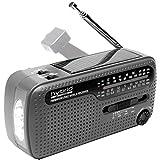 Muse MH-07DS tragbares Kurbel-Radio, Weltempfänger mit Taschenlampe und Solar-Ladefunktion (Dynamo,...