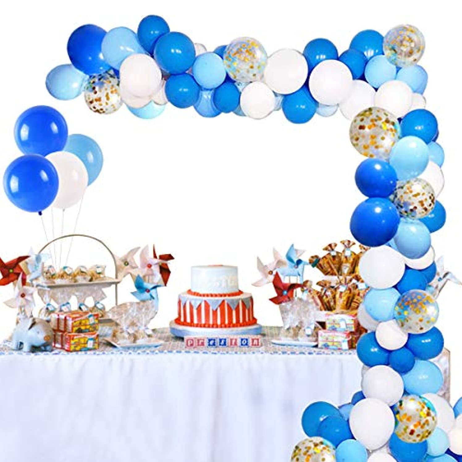 Birthday Party Balloon Garland Kit – 90 Latex Balloons Blue, White, Sky Blue, Confetti Balloon, Balloons Garland Strip for Balloon Arch Kit, Boy Party, Baby Boy Shower, Wedding Graduation Party
