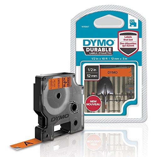 Dymo 1978367 D1 Hochleistungs-Etikettenband (für LabelManager-Etikettendrucker, schwarz auf orange, 12mm B x 3 m L)
