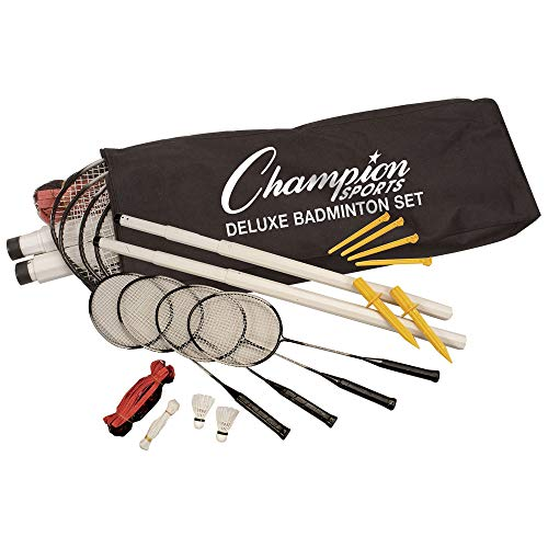 Champion Sports Outdoor Badminton Set: Deluxe Lawn & Party Game Kit Includes 4 Rackets 2 Shuttlecocks Net Poles & Posts Plus Free Carrying Case - Great for BBQ Camping or The Beach