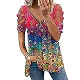 Mayntop Camiseta de verano para mujer, manga corta, hombros descubiertos, con cremallera, talla grande, holgada, con...