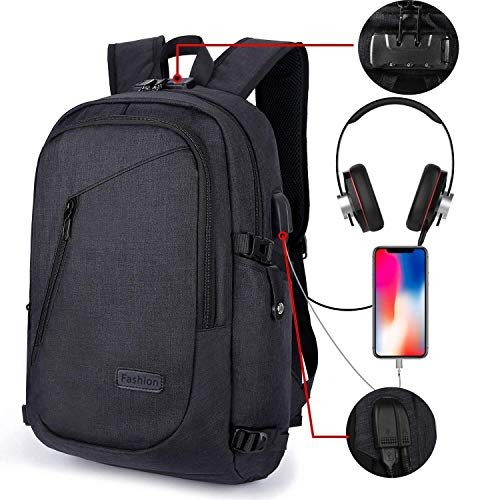 AMAZINGBAG Anti-Theft Laptop Backpack, Business Water Resistant Backpack Travel Computer Bag USB Charging Port Headphone Interface Men & Women College Student,Fits 15.6 Inches Laptop Notebook (Black)