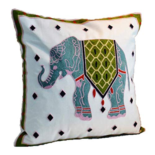 ZUODU Hand Made National Embroidery Bohemian Housewarming Car Home Decoration Cushion Cover/Throw Pillow Cover (Elephant-blue)