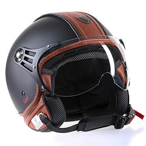 Motorradhelm Jethelm Rollerhelm CMX Hazel Größe XL matt schwarz mit braunem Leder und klarem Visier