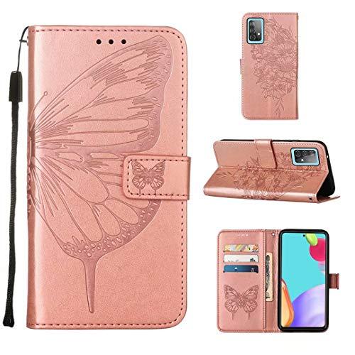 WJMWF Compatible con Funda Samsung Galaxy A52 5G Mariposa Volador Patrón en Relieve PU Cuero Wallet Caso [Cierres Magnéticos] [Ranuras para Tarjetas] [Soporte Plegable] Anti-Shock Cáscara-Oro Rosa