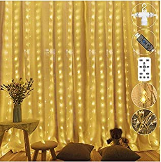 Etmury Hanging Window Curtain Lights, 300 LEDS Curtain String Lights with 8 Modes Remote Fairy Lights String Window Curtai...