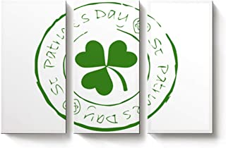3 Piece Canvas Wall Art Simple St Patrick's Day Badge Pattern Oil Paintings for Home Decoration Living Room Bedroom Modern Artwork Stretched and Framed Ready to Hang - 16